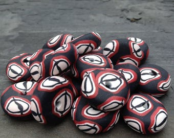 Set of Black White and Red Disk Shaped Beads In Matte Finish Handmade Polymer Clay Artisan Jewelry Supplies