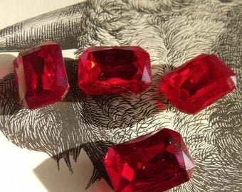 SALE 20% Off Ruby Red 18X13 Octagon Glass Gems Foiled 4 Pcs