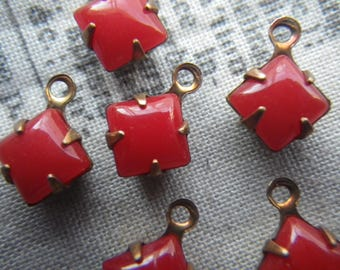 Opaque Cherry Red 6x6mm Square Vintage Glass Drops One Ring 6 pieces