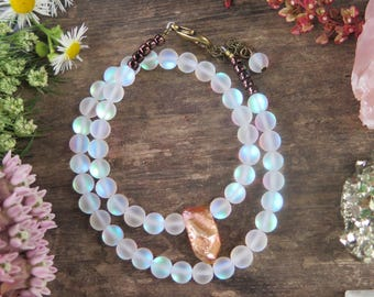 Aura Quartz Peach Double wrap Bracelet - Brass Clasp - Funky Jewelry - Boho Bohemian Crystal Energy - Choker - Free Spirited - Good Vibes