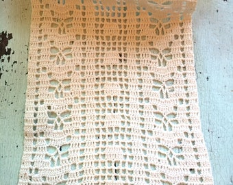 Vintage Crocheted Cotton Doily or Dresser Scarf