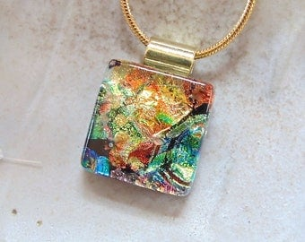 Petite, Gold Necklace, Orange, Green, Dichroic Glass Pendant, Fused Glass Jewelry, Necklace, One of a Kind, A1