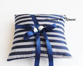 Marine style  Wedding Ring bearer pillow -ring bearer, ring cushion, ready to ship