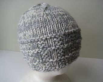 cream and gray hand knit cap