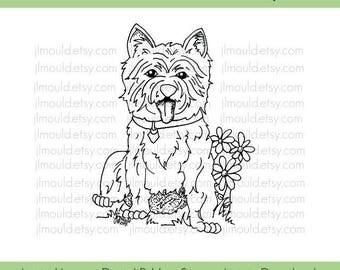 Digital Rubber Stamp Limited Edition Instant Download JessicaLynnOriginal West Highland White Terrier Dog Stamp Limited License Card Making