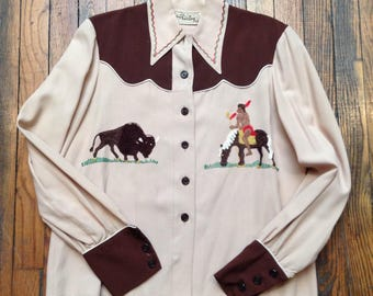 Vintage LADIES COWGIRL Western Shirt with chainstitch embroidery Native American horse buffalo rayon gabardine cowboy button bison gift