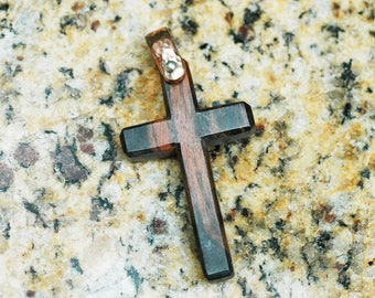 Exotic Sono Wood Cross Pendant with Hammered Copper Bail ~ Handmade in Indonesia ~ 1 piece