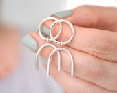Circle and arc statement earrings silver arch earrings dangle earrings sterling silver nickel free earrings geometric earrings