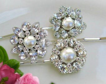 Wedding Hair pins, Pearl Bridal Clip,  Silver crystal, Ivory Pearl bobby pin, Bridesmaid Hair, Bridesmaid gifts, Bridal Hair Piece, set of 3