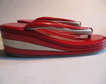 Japanese Geta Geisha Tabi toe candy apple patent and silver platform shoes
