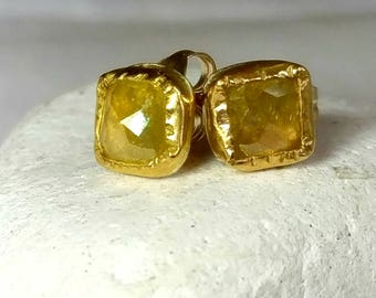 Rose cut Diamond and solid gold Stud earrings, 22 kt solid recycled gold studs,  diamond and  gold  earrings