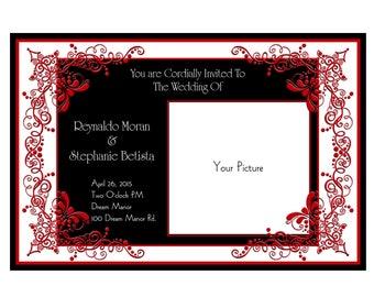 Wedding Invitations RED FILLAGREE