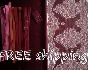 LINGERIE Kit Bordeau Red for 1 BRA + Panty FREE Shipping by Merckwaerdigh