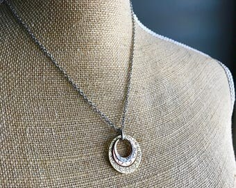 Hand Hammered Mixed Metal Necklace - Sterling Silver, Copper, Brass - Gift for Her - Mixed Metals
