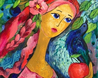 Original Painting, Her Treasures, Mixed Media on Canvas, Acrylics