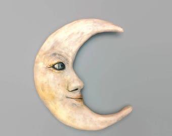 Papermache Crescent Moon Sculpture - Moon Goddess Original Art - Crescent Moon Phase Wall Sculpture - Unique Home Decor - Magical - Moon Art