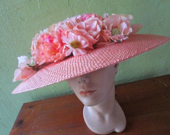 Eric Javits Peach Straw Silk Duppionne Hat Wide Brim Wedding Sun Derby Church Easter Tea
