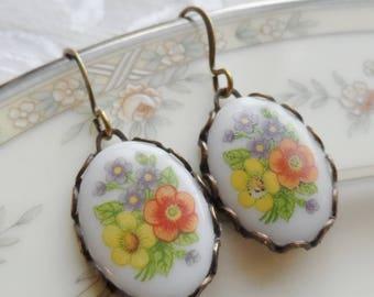 75% Off Sale, Fall Garden Bouquet, Orange Flower, Blue Flower, Yellow Flower, Brass Filigree, Vintage Porcelain, Glass Cameo, Earrings