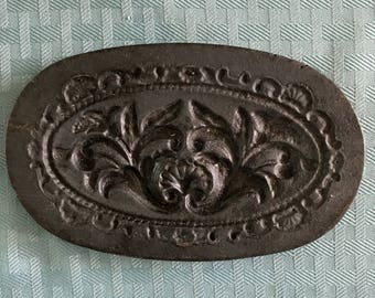 Vintage Antique 1800's Oval Heavy Cast Iron Cookie Mold Marzipan Mold Floral Design with Seashell