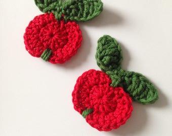 Red apple crochet appliqué
