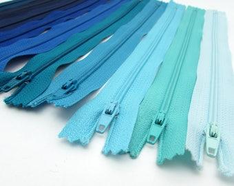 10 Zippers - 9 inch - Shades of Blue - destash - Zipper Lot - nylon