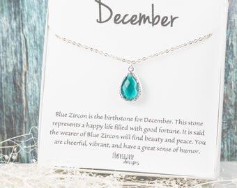 December Blue Zircon Birthstone Silver Teardrop Necklace, Blue Zircon Necklace, December Birthday Jewelry, December Birthstone Jewelry