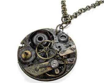 Steampunk Jewelry Necklace Vintage BATTERED Pocket Watch Loaded Gears NIHIiIST POST APOCaLYPTIC Industrial - Steampunk Jewelry by edmdesigns