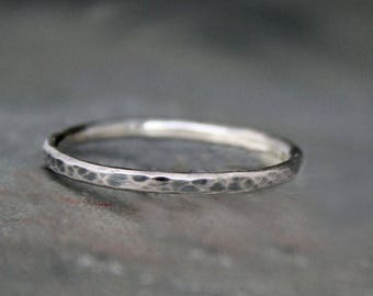 One Rustic Sterling Silver Stacking Ring, Hammered Sterling Silver Stackable Ring Bands, Single Antiqued Oxidized, Regular or Knuckle