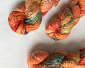 Hand-dyed yarn, Indie dyed yarn, hand dyed yarn PEACH FUZZ -- ready to ship -- Bronx Zoo worsted weight single-ply merino yarn