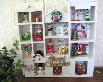 Vintage CHRISTMAS ORNAMENT Assemblage Shadow Memory Box