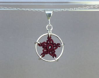 Stars, maroon silk necklace, sterling silver