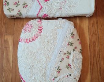 Vintage Lace Crochet Ecru Pink Rose  Toilet Seat Cover Set