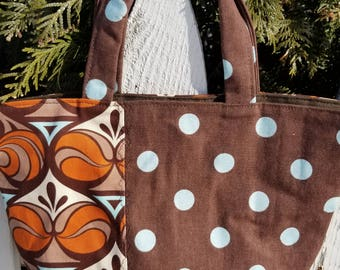 Brown Floral and Polka Dot Purse
