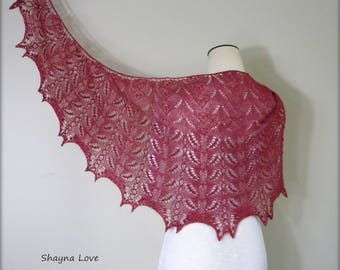 Lace Shawl - hand knittted wrap - cranberry red scarf - crescent shaped