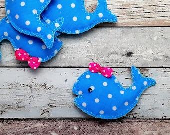 Blue whale hair clip,handmade Blue polka dot blue whale barrette, whale hair slide,whale brooch pin single or Pairs