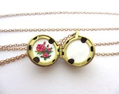 Mother's Day Necklace, Hand-Painted Locket With Red Roses, Add Personalized Message