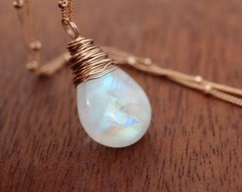Rose Gold Rainbow Moonstone Necklace. Super Flashy Gemstone Necklace. Simple Layer BoHo Beach