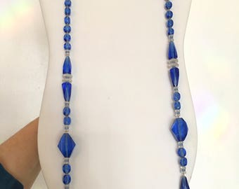 Art Deco Flapper Necklace Long BLue Glass necklace VIntage Glass Necklace