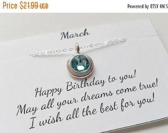 ON-SALE Aquamarine - March Birthstone - Aquamarine Sterling Silver Chain Necklace, March Birthday Gift, Birthstone Necklace