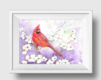 Cardinal Watercolor Print - Cardinal Print - Cardinal Painting - Cardinal Wall Art - Modern Farmhouse Wall Art - Bird Painting