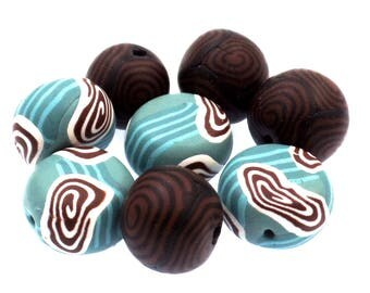 Round Polymer Clay Beads , Bead Set, Earthy Beads, 8 Pieces