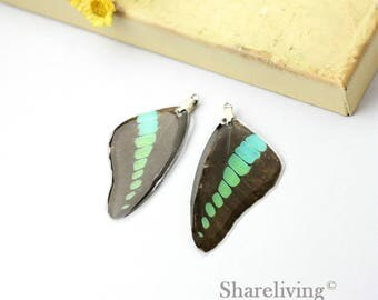 4pcs Handmade Real Butterfly Wing Charm / Pendant, Cover Resin with Silver Bail, Perfect for Earring / Necklace - RW001H