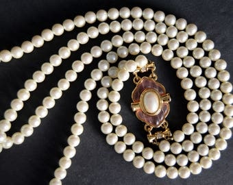 Richelieu Two Strand Pearl Necklace with Ornate Pink Clasp {Long Statement Necklace 2 Strands Bridal Pearl Necklace}