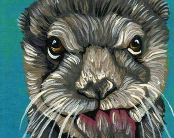 ACEO ATC Baby Otter Wildlife  Original Painting Art-Carla Smale