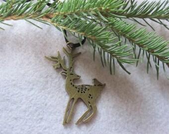 Deer Necklace ~ Brass Deer Pendant ~ Hunter's Jewelry ~ Custom Cord Necklace ~ Large Brass Buck Necklace ~ Stag Necklace ~ Men, Women