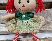 Raggedy Annie Primitive Dolls Lil Sally Annie Raggedy Ann Doll Green Polka Dot Annie Doll