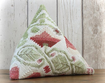 Fabric Doorstop, Doorstopper in Red & Green Tapestry Fabric, Triangular, Pyramid Shape