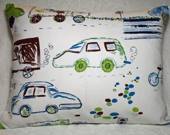 "Kids Transportation Cars Toddler Child Travel Pillow Cover 12""x16"" New Handmade - Version 2"