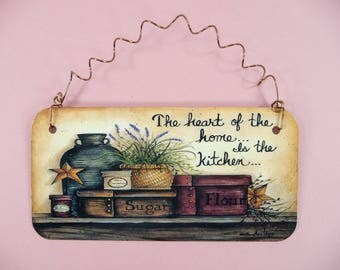 PRIMITIVE SIGN The Heart Of The Home Is The Kitchen Cute Metal House Decor Country Folk Art Faux Painting Homespun