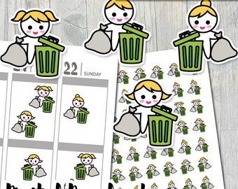 Planner girl trash bin stickers pdf download / printable planner stickers kit / blonde girl, garbage bag, trash bin sticker / throwing trash